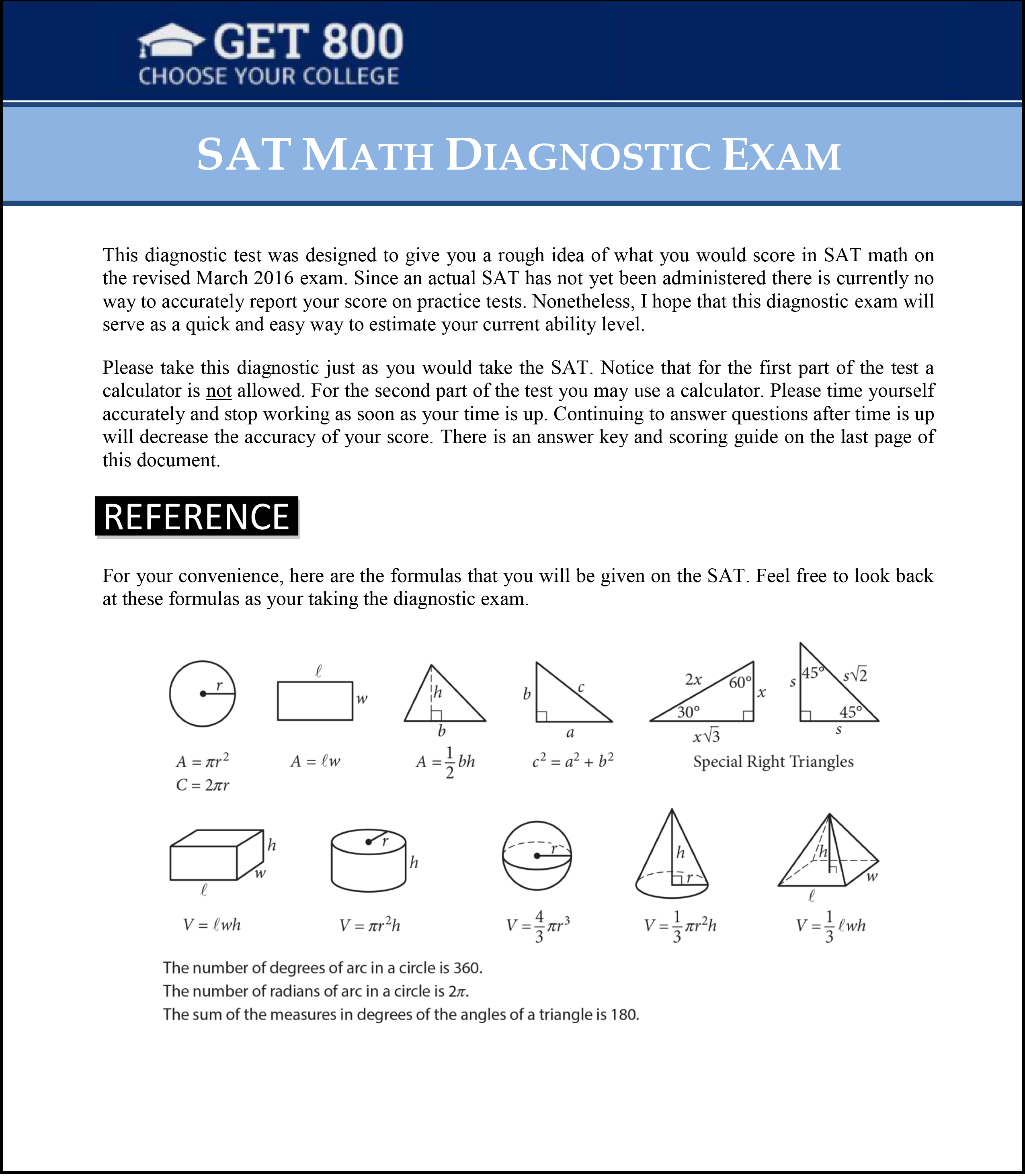 maths diagnostics Please note that this is meant simply as an information gathering diagnostic tool   all incoming students are expected to write the math readiness assessment.