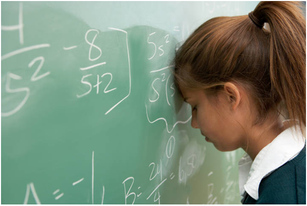 girl head at chalkboard